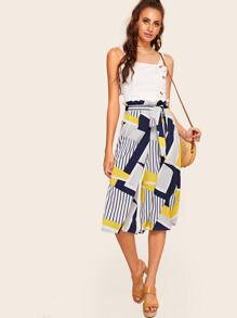 Striped Self Tie Waist Paperbag Pants