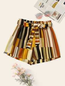 Striped Self Tie Waist Belted Shorts
