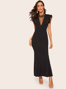Contrast Mesh Cap Sleeve Dress