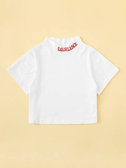 Letter Graphic Crop Tee