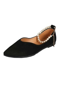 Faux Pearl Decor Ankle Strap Flats