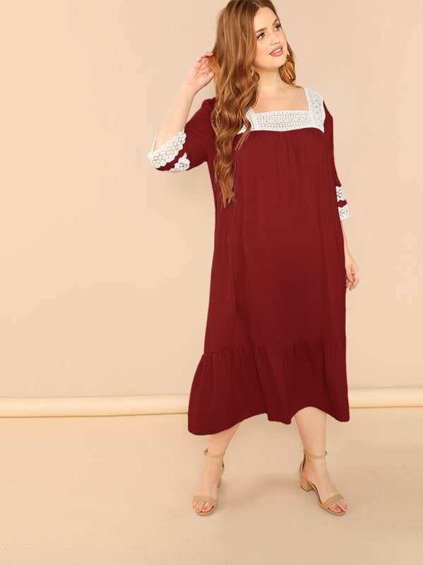 328a381def Plus Square Neck Ruffle Hem Lace Insert Night Dress | SHEIN