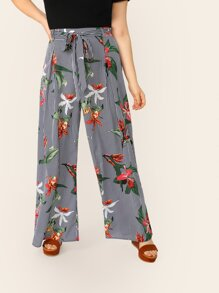 Plus Waist Belted Stripe Floral Wide Leg Pants