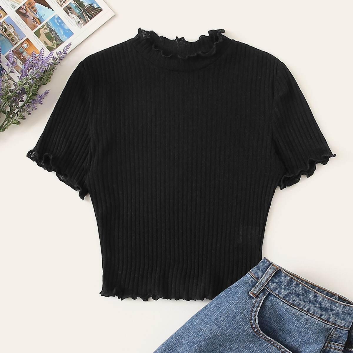Zwart Casual Vlak T-shirts Lettuce trim
