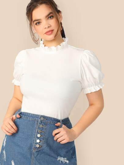 dab34eb0cf Plus Frilled Neck Puff Sleeve Rib-knit T-shirt