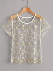 Embroidery Floral Mesh Scallop Top