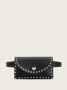 Studded Detail Flap Fanny Pack