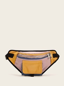 Color-block Pocket Front Fanny Pack