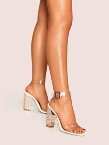 Embossed Detail Transparent Chunky Heels