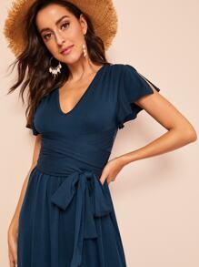 90162818503 Split Sleeve and Hem Belted Jersey Dress   SHEIN