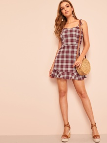 Self Tie Shoulder Ruffle Hem Plaid Dress