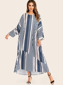 Striped Batwing Sleeve Longline Dress