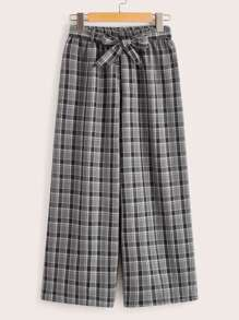 Plaid Wide Leg Waist Tie Pants
