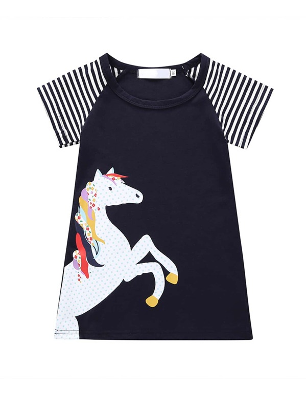 573c6bdb7e48b Toddler Girls Contrast Raglan Sleeve Horse Print T-shirt Dress