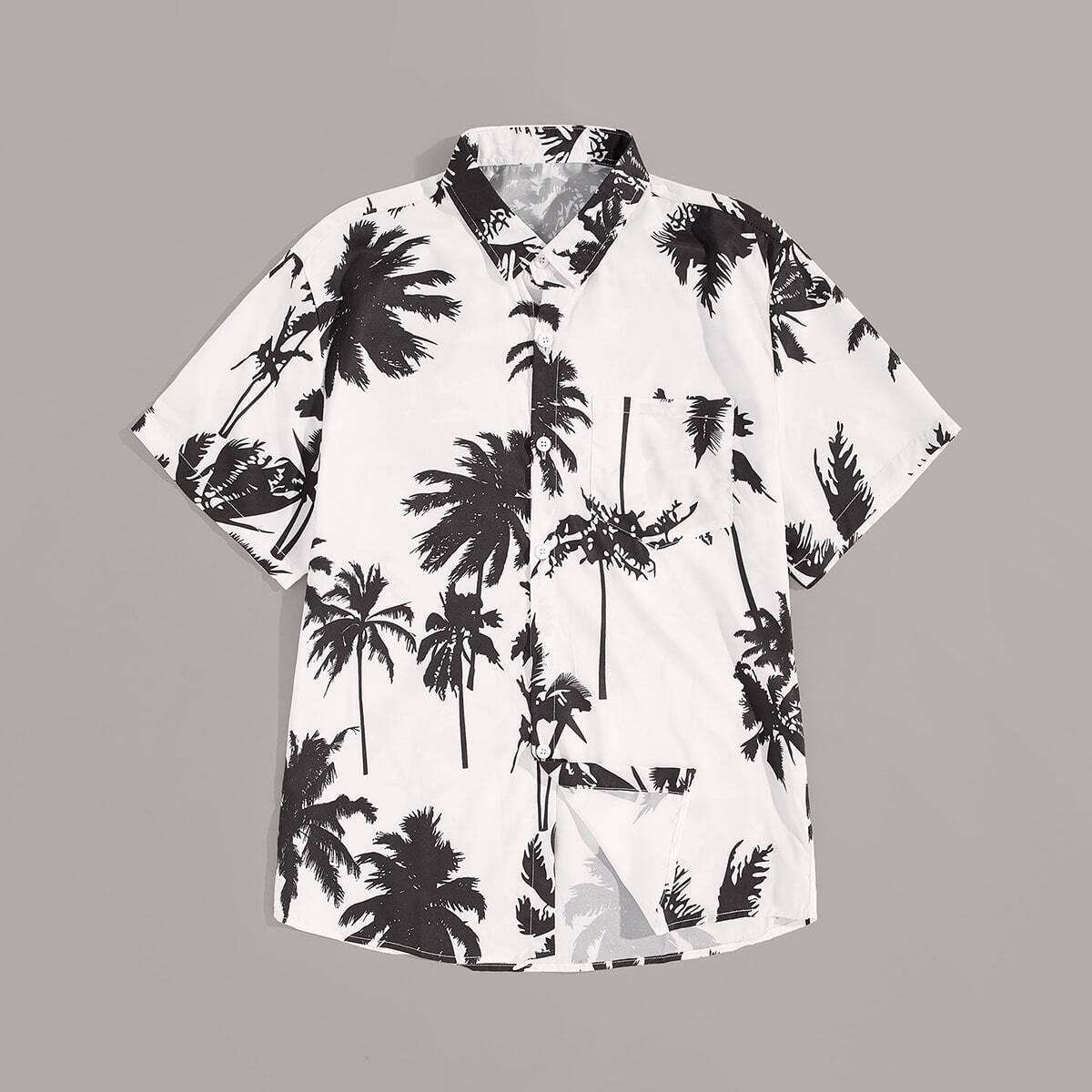 Мужская рубашка с изогнутым краем и графическим принтом SheIn smshirt01190313151