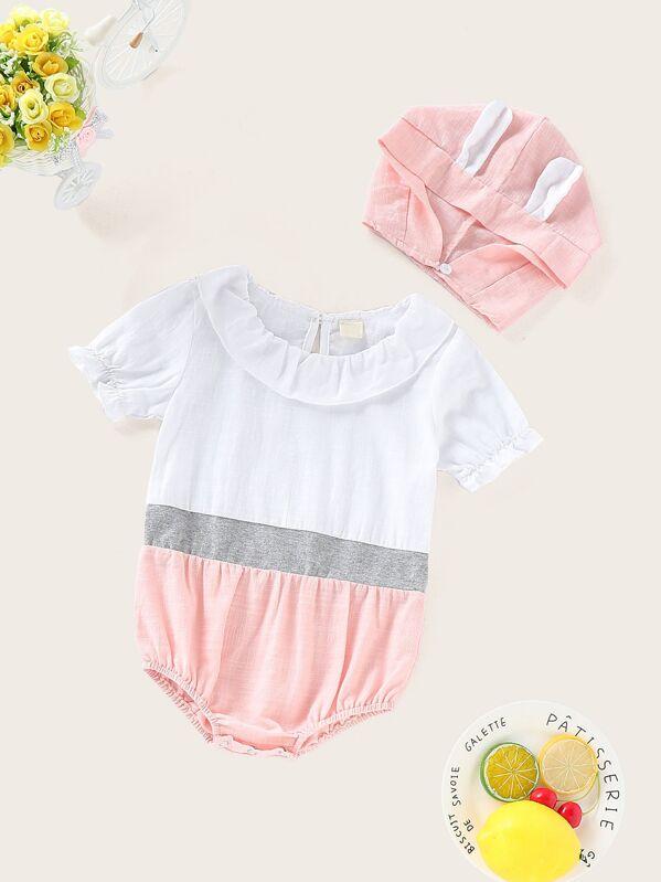747e5e574 Body de bebé panel en contraste ribete fruncido