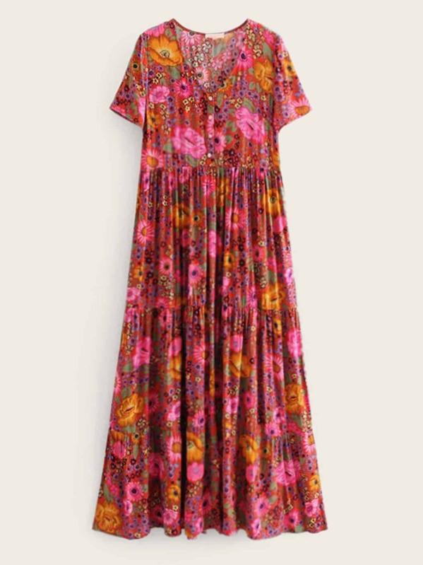 537655a4ae17 V-neck Floral Print Maxi Dress