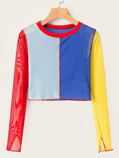 2a5e86c65bea4 T-shirt court avec blocs de couleurs