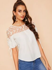 Contrast Mesh Embroidery Blouse