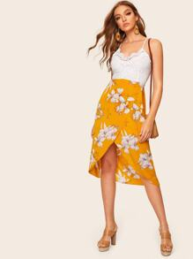 Contrast Lace Tulip Hem Cami Dress