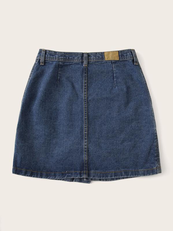 4b985e38f5e06 Plus Button Front Denim Skirt | SHEIN