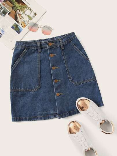 Plus Button Front Denim Skirt