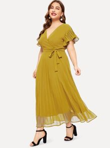 Plus Surplice Front Flounce Sleeve Belted Dress