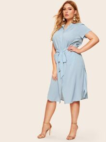 Plus Button Through Belted Shirt Dress