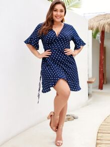 Plus Polka Dot Wrap Tie Side Dress