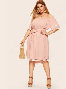 Plus Swiss Dot Off Shoulder Fringe Belted Dress