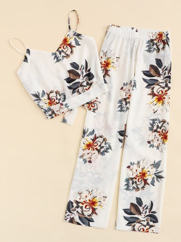 1888aefd54f Plus Floral Print Knot Cami Top With Pants