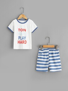 Toddler Boys Letter Print Striped Pajama Set