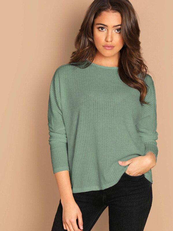 996103e1a0 Rib-knit Dolman Sleeve Tee | SHEIN IN