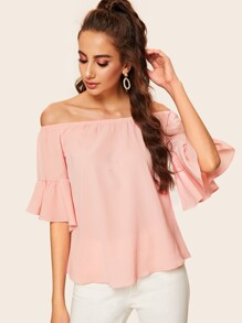Flounce Sleeve Off The Shoulder Blouse