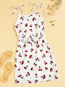 Fruit Print Belted Knot Detail Cami Dress