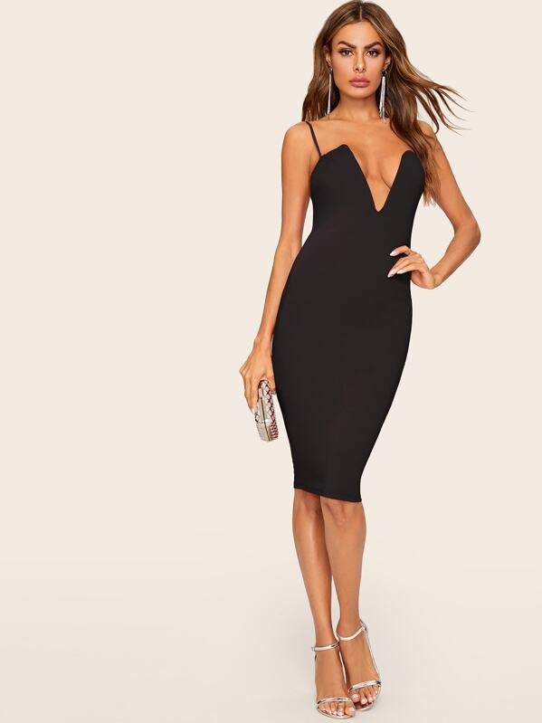 243024959a303 V Bar Plunge Bodycon Slip Dress | SHEIN UK