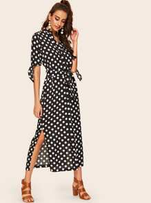 Polka Dot Split Shirt Dress