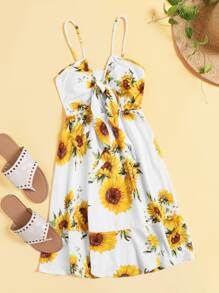 Floral Print Knot Detail Cami Dress