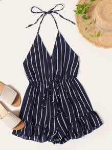 Striped Ruffle Hem Open Back Halter Jumpsuit