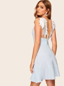 Contrast Wing Back Cami Dress