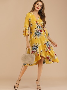 Floral Print Knot Wrap Dress
