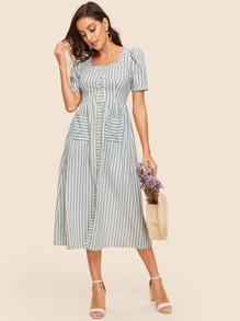 50s Vertical-stripe Button Up Pocket Patched Dress