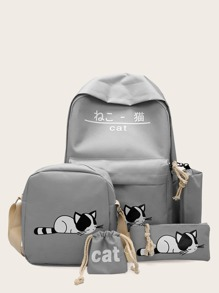 Cat Print Backpack With Pencil Case 5pcs