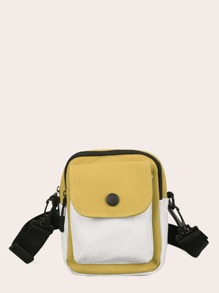 Pocket Front Nylon Crossbody Bag