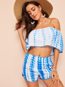 Dot Lace Detail Tie Dye Bardot Top & Shorts Set