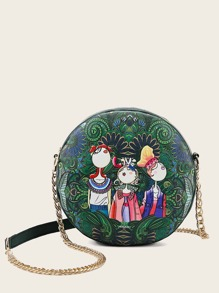 Figure Print Round Shaped Chain Bag