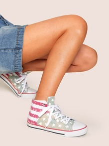 Star Print Lace-up Front Canvas Sneakers
