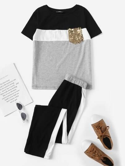22c51b298b79 Set pantaloni   Top in paillettes colorblock contrasto con tasca grandi  dimensioni