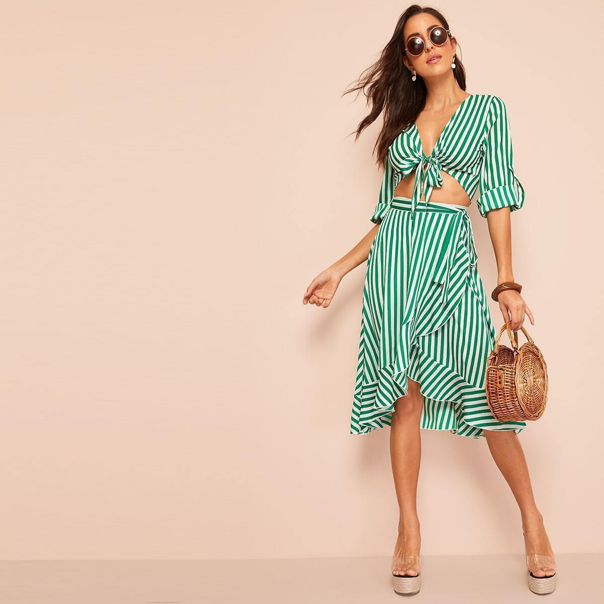 Knot Front Roll Sleeve Stripe Top & Skirt Set