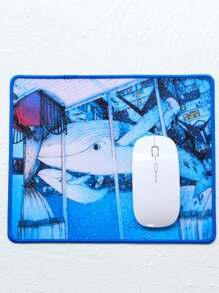 Whale Print Mouse Pad